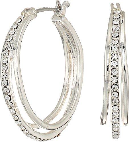 LAUREN Ralph Lauren Women's Everyday Crystal Metal Triple Hoop Earrings Silver/Crystal One ()