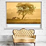 GOLDEN HORSES PHOTO PICTURE ROLLER BLIND - CUSTOM MADE PRINTED PHOTO WINDOW BLINDS