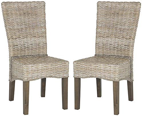 Safavieh Home Collection Ozias White Wash Wicker Dining Chair Set of 2 , 19