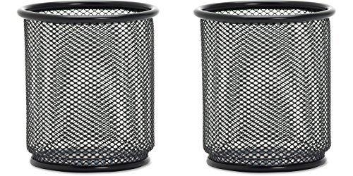 "lorell black mesh/wire pencil cup holder 3.5"" x 3.9"" - steel - 1 - black, 2 packs"