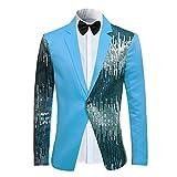 Cloudstyle Men's 2-Piece Suit Casual One Button Slim Fit Blazer Stylish Sport Coat  Trousers Blue Medium