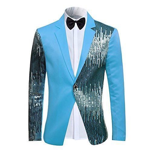 Cloudstyle Men's 2-Piece Suit Casual One Button Slim Fit Blazer Stylish Sport Coat  Trousers Blue XX-Large