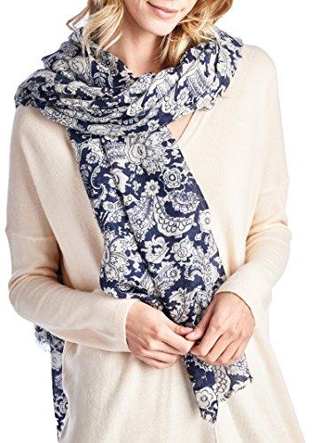 (High Style 100% Merino Wool Printed Large Pashmina Scarf Shawl (Q0913024, NavyPrint))