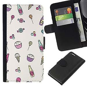 iBinBang / Flip Funda de Cuero Case Cover - Helado minimalista magdalena feliz Patrón - Apple iPhone 5C