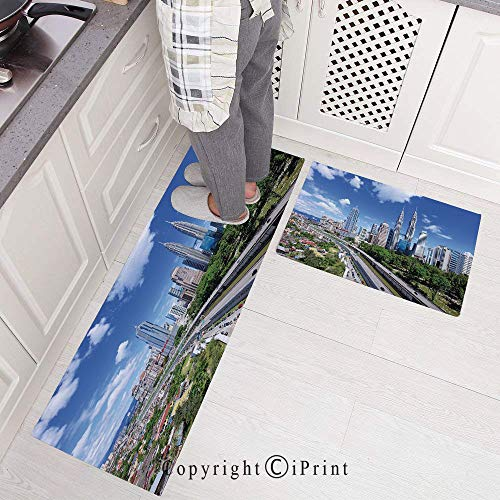2 Pieces Creative Non-Slip Kitchen Mat Rubber Backing Doormat Runner Rug Set,Kuala Lumpur Skyline in a Clear Day Financial District Highway Skyscrapers Design 15.7