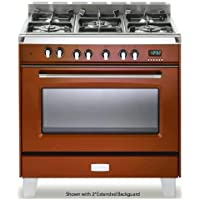 Verona VCLFSGG365R 36 Classic Gas Range with 4 cu. ft. Convection Oven 5 Sealed Gas Burners Cast-Iron Grates EZ Clean Porcelain Oven Surface and Full-Width Storage Compartment in Gloss