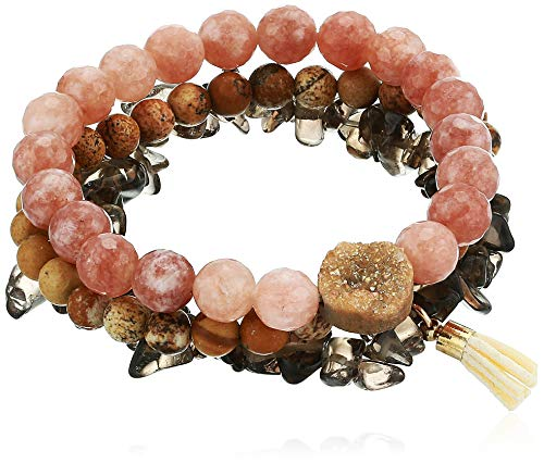 Panacea Peach Brown Moonstone and Jasper Stretch Bracelet Set, One Size