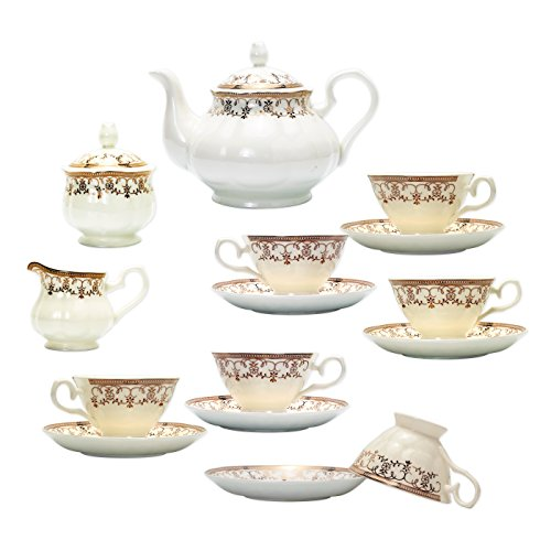 TransSino Treasures Fine Bone China 15 Piece Coffee Set with Gold Leaf Decorative Pattern ()