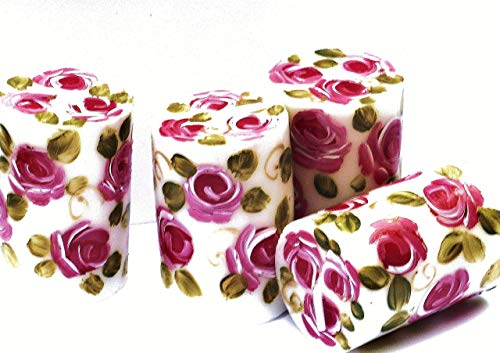 Hand Roses Painted Candle (Decorative Small Short White Votive Candles Set with Hand Painted Pink Roses Shabby Chic Home Decor)