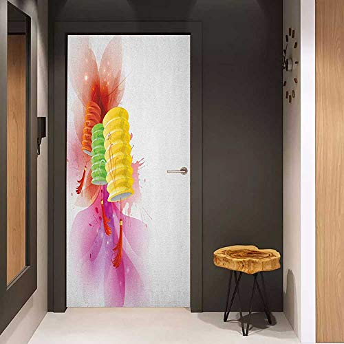 Onefzc Soliciting Sticker for Door Lantern Mid Autumn Celebration Singapore China East Culture Festival Candles Happiness Mural Wallpaper W31 x H79 Multicolor (Best Car Wax Singapore)