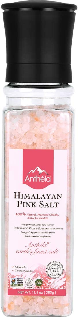 Anthela Himalayan Pink Salt, Coarse Grain Salt Grinder 11.4oz, Premium Organic Gourmet 100% Pure Ancient Mineral Sea Salt.Non-GMO, Kosher, Halal, Sedex Certified.
