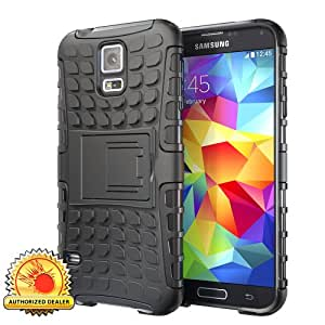 Hyperion Explorer 2-piece Hybrid Protective Cases for Samsung Galaxy S5 Cell Phone (S5 EXPLORER, BLACK)