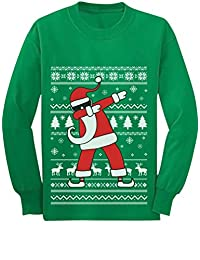 Dabbing Santa Funny Ugly Christmas Party Youth Kids Long Sleeve T-Shirt