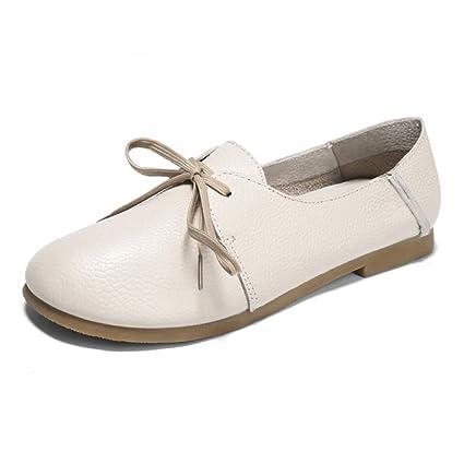 Zapatos para mujer HWF Zapatos Planos de Mujer Cómodo y Suave con Cordones Redondeados Zapatos de