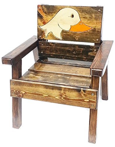 Kids Wood Chair, Heirloom Gift, Patio or Garden Furniture, Engraved and Painted Duck Design
