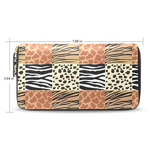 Women Animal Skins Picture Leather Wallet Large Capacity Zipper Travel Wristlet Bags Clutch Cellphone Bag