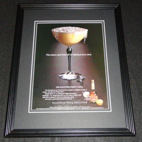 1987 Peachtree Schnapps DeKuyper Frosty Navel Framed ORIGINAL Advertisement
