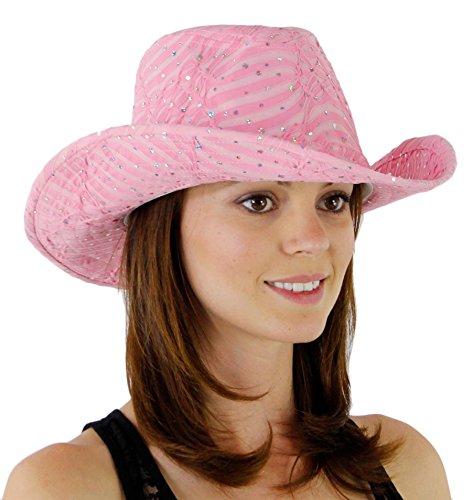 Glitter Sequin Trim Cowboy Hat, Light Pink