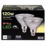 Utilitech 596927 2-Pack 20.5-Watt (120W Equivalent) PAR38 Medium Base Warm White Dimmable Outdoor LED Flood Light Bulbs