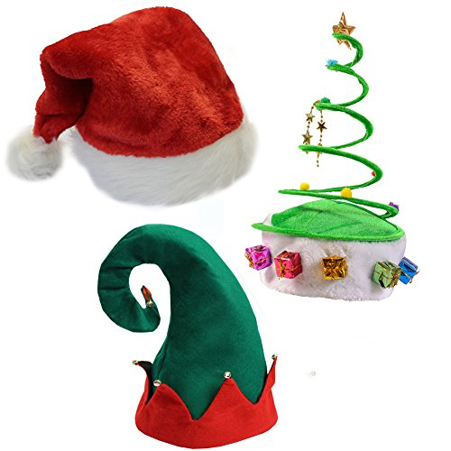 (Set of 3) Plush Santa Hat, Felt Elf Hat w/Bells, Green Coil Christmas Tree Hat -
