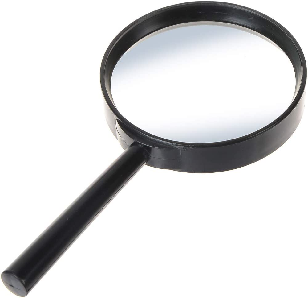 Saim Black 5X Magnifying Glass Handheld Magnifier for Reading Books Newspaper Small Prints Map Coins Jewelry 75mm TH-5009