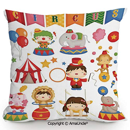 AmaUncle Decorative Square Throw Pillow Case with Cotton and Linen,Carnival Circus Happy Children Girl Boy Hat Cotton Candy Stars Swing Lion Decorative,W16xL16 Inches,Modern Design with 3D Printed Sof