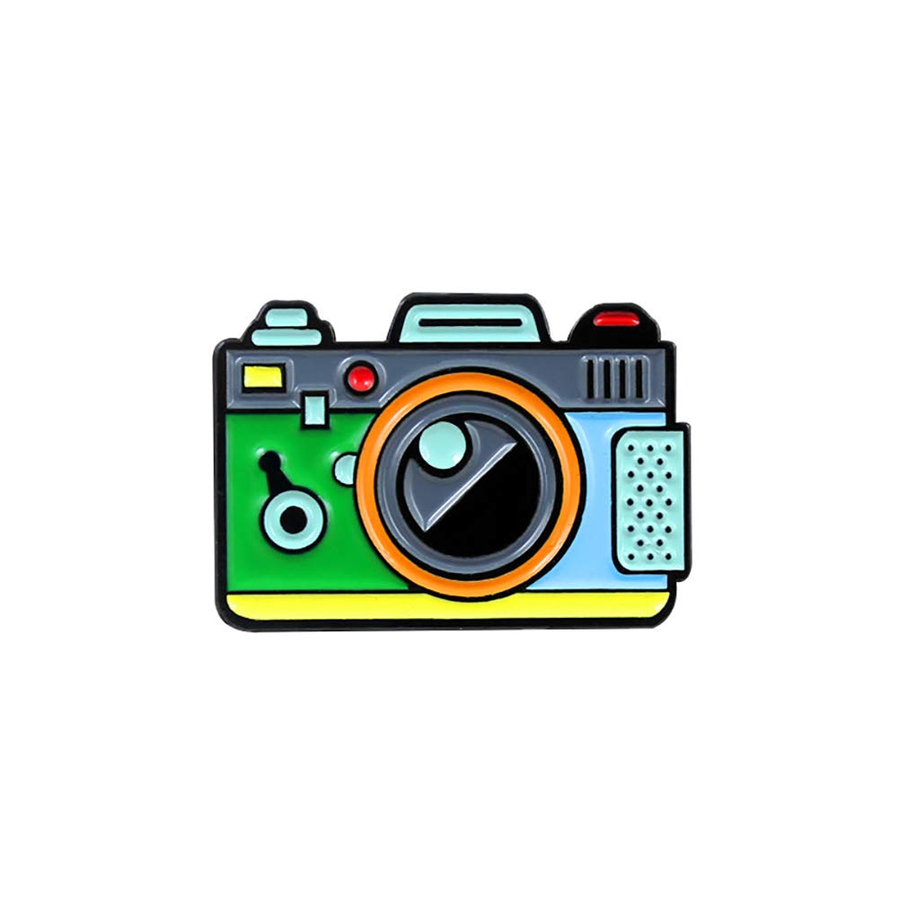 ink2055 Cartoon Multicolor Camera Badge Collar Lapel Brooch Pin Badge for Clothes Brooches Jewelry Decor - Green