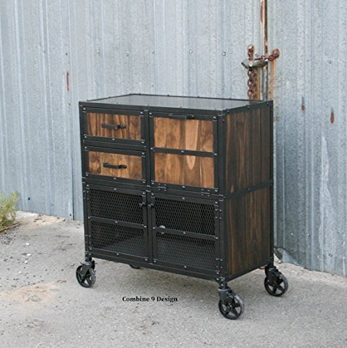 Industrial Salon Cabinet, Cart.Barber Station, Reclaimed Wood