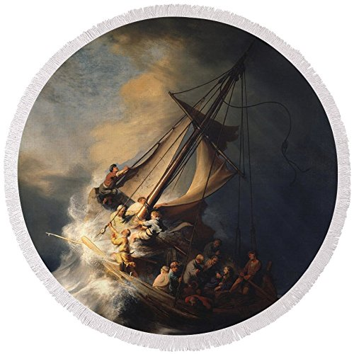 Pixels Round Beach Towel With Tassels featuring ''Christ In The Storm On The Sea Of Galilee'' by Rembrandt Van Rijn by Pixels