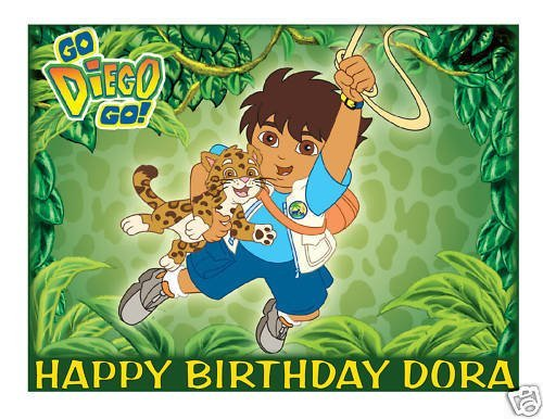 Diego edible cake image frosting sheet (Diego Cake Topper)