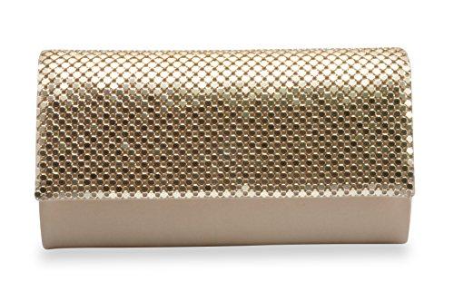 Golden Metal Mesh Evening Bag for Women Cluth Purse Bling Smoothly Handbag Clutch Crossbody - Mesh Evening Bag Purse
