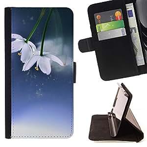 For Sony Xperia M4 Aqua Case , Flores Invierno Primavera Azul Blanco- la tarjeta de Crédito Slots PU Funda de cuero Monedero caso cubierta de piel