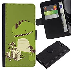 All Phone Most Case / Oferta Especial Cáscara Funda de cuero Monedero Cubierta de proteccion Caso / Wallet Case for Sony Xperia Z3 Compact // Cute Dinosaur Play