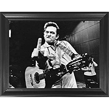 Johnny Cash Middle Finger 3D Poster Wall Art Decor Framed Print   14.5x18.5   Lenticular Posters & Pictures   Memorabilia Gifts for Guys & Girls Bedroom  Walk the Line Vinyl Classic Rock Country Music