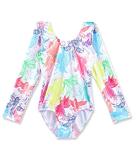 CEMXX Gymnastics Leotards for Girls Long Sleeve Colorful Elf Printed Sparkle Athletic Dance Ballet Unitards Leotard 3-8 Years for $<!--$12.59-->