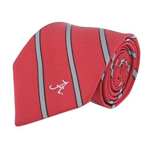NCAA Alabama Crimson Tide Mens Woven Silk Thin Stripe Collegiate Logo Tie 2, Crimson and Grey, One Size