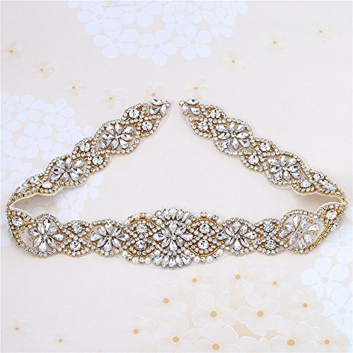 "Applique Belt - Rhinestones Wedding Dress Decoration Crystals Sew on Sash Belt Shiny Glass Appliques Motif For Fashion Clothes Bridal -Gold- 1Piece(23.4""1.96"")"
