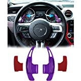 Danti 2Pcs Aluminum Steering Wheel Dull Polish Shift Paddle Shifter Extension for Ford Mustang 2015 2016 2017 2018 (Purple)
