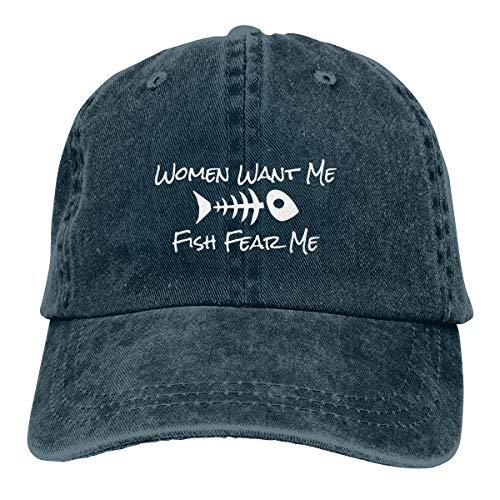 METOO SHOP Women Want Me Fish Fear Me Men Women Classic Adjustable Plain Cap Hat - Cap Golf Fish