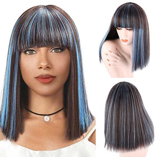 Blonde Ombre Blue Bob Wig Short Straight Full Natural Synthetic Costume Cosplay Wigs for Women (Blue) -