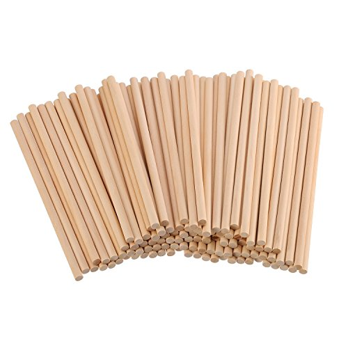 eBoot Unfinished Natural Wood Craft Dowel Rods 100 Pack (6 x 1/4 - Stripes Mask Paint