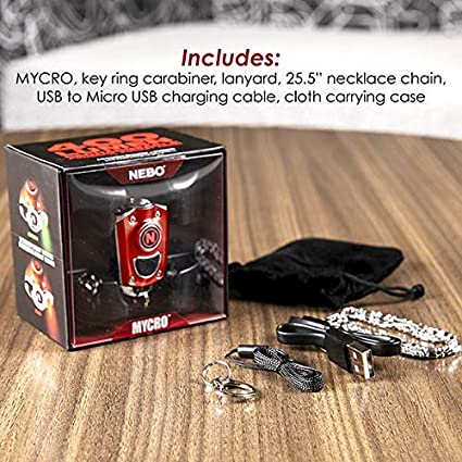 NEBO Mini Rechargeable Keychain Flashlight: Features 6 Unique Light Modes MYCRO 6714 Black Lanyard or Keyring Including 400 Lumen Turbo Mode and 3 LED Color Options; Easily Secured via Necklace