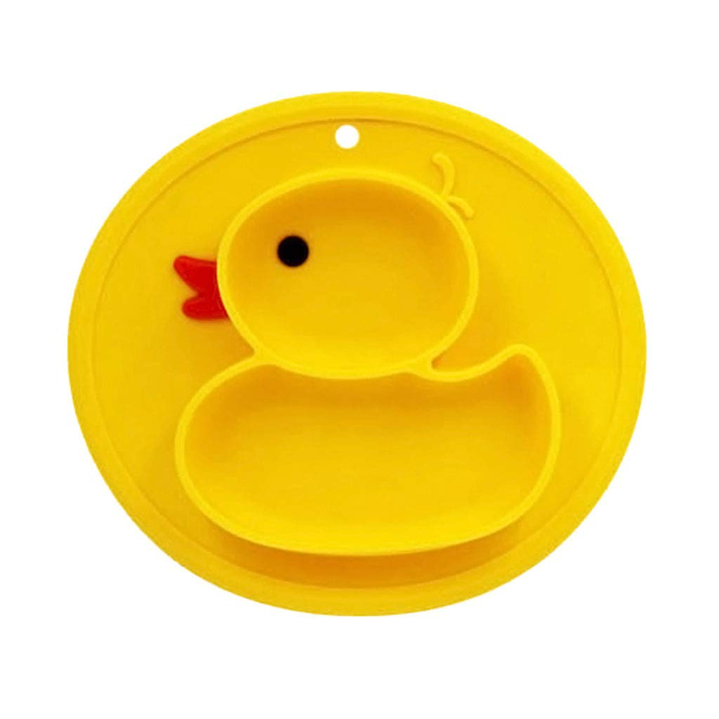 Cartoon Duck Silicone Feeding Plate Tray Holder Kids Baby Toddler Children Bowl