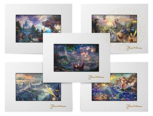 Thomas Kinkade Disney Princesses - Set of 5 - Matted Prints