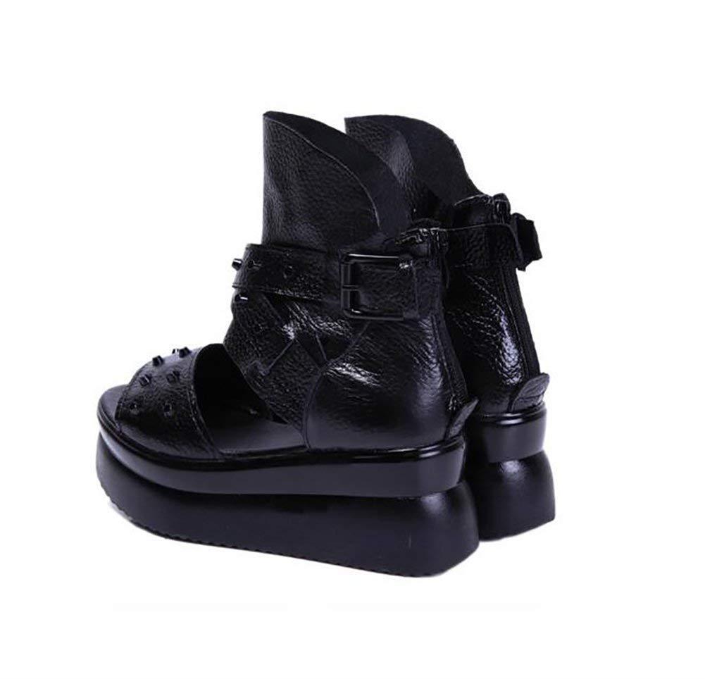 Oudan Damen Unten Sandalen Leder Rutschfest Slipper Bodenständig Unten Damen Hoch - Absatz Keil Schuhe,A,38 (Farbe   B, Größe   35) e9219e