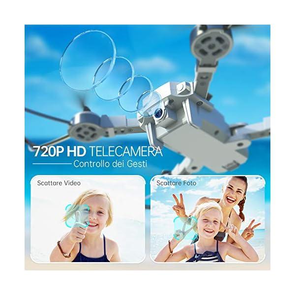 SNAPTAIN A10 720P Mini Drone con Telecamera HD Pieghevole FPV Controllo Vocale, Controllo Gesti, Volo Traiettoria, Volo Circolare, Rotazione ad Alta velocità, 3D Filp, Sensore G, modalità Senza Testa 4 spesavip