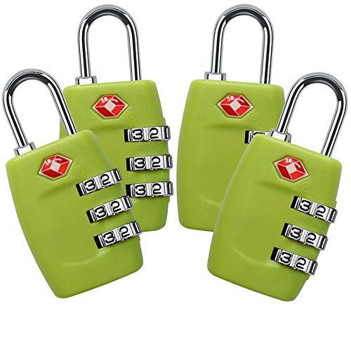 TSA Lock 4 Pack,TSA Approved Luggage Lock,3 Digit Small Combination Padlock for Travel Suitcase (Green)