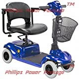 CTM - HS-290 - Lightweight Travel Scooter - 4-Wheel - Blue - PHILLIPS POWER PACKAGE TM - TO $500 VALUE