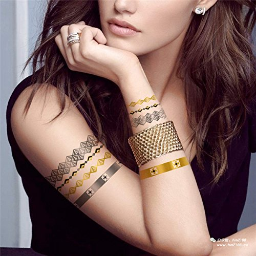 COKOHAPPY 5 Sheets Metallic Temporary Tattoo Gold Silver Shine Beach Armband