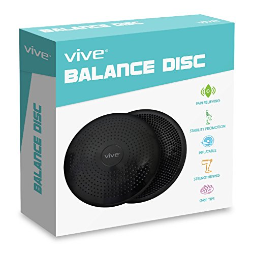 Wobble Cushion by Vive Inflatable Balance Disc Fitness Trainer Wobble Pad for Rehab, Exercise, Isokinetics, Physical Therapy & Stability